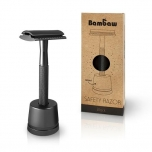 Bambaw metal safety razor with stand - black