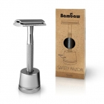 Bambaw metal safety razor with stand - silver